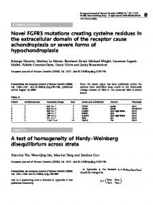 Novel FGFR3 mutations creating cysteine residues in the ... - Nature