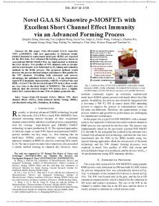 Novel GAA Si Nanowire p-MOSFETs with Excellent ... - IEEE Xplore