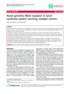 Novel germline MSH2 mutation in lynch syndrome patient surviving ...