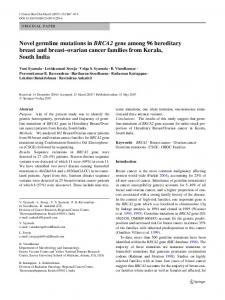Novel germline mutations in BRCA2 gene among 96 ... - Springer Link
