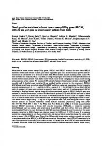 Novel germline mutations in breast cancer susceptibility genes ...