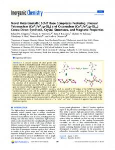Novel Heterometallic Schiff Base Complexes Featuring Unusual ...