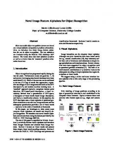Novel Image Feature Alphabets for Object Recognition
