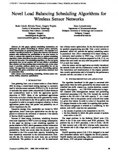 Novel Load Balancing Scheduling Algorithms for Wireless ... - ThinkMind