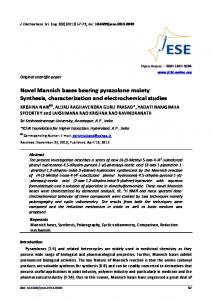 Novel Mannich bases bearing pyrazolone moiety. Synthesis ...