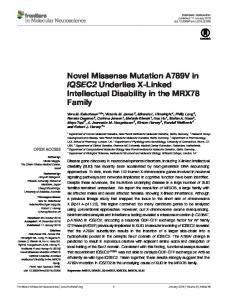 Novel Missense Mutation A789V in IQSEC2 Underlies X-Linked ... - Core