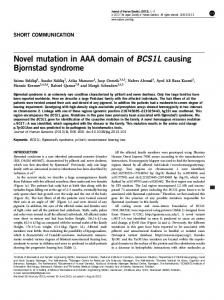 Novel mutation in AAA domain of BCS1L causing ...