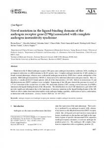 Novel mutation in the ligand-binding domain of the androgen receptor ...