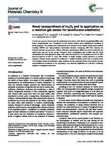 Novel nanosynthesis of In2O3 and its application as a ...