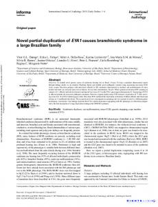 Novel partial duplication of EYA1 causes branchiootic syndrome in a ...