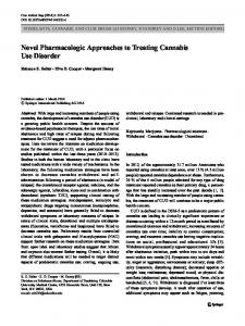 Novel Pharmacologic Approaches to Treating Cannabis Use Disorder ...