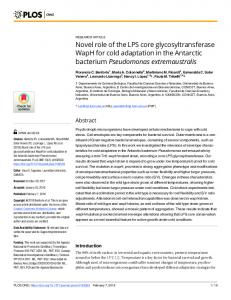 Novel role of the LPS core glycosyltransferase WapH for cold ... - PLOS