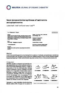 Novel stereocontrolled syntheses of tashiromine ... - Beilstein Journal