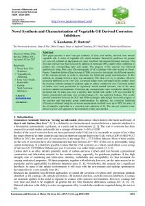 Novel Synthesis and Characterization of Vegetable Oil Derived ...