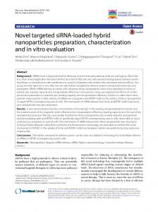 Novel targeted siRNA-loaded hybrid nanoparticles: preparation ...