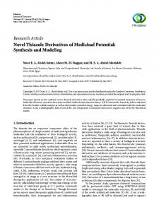 Novel Thiazole Derivatives of Medicinal Potential: Synthesis and ...