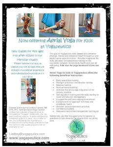 Now offering Aerial Yoga for Kids at Yogapeutics!