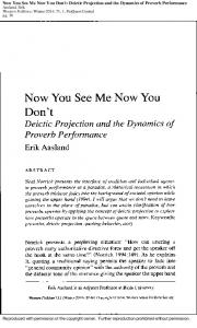 Now You See Me Now You Don't: Deictic Projection ...