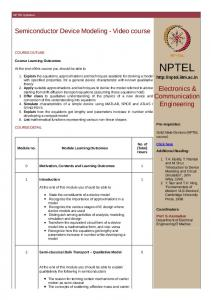 NPTEL Syllabus - Semiconductor Device Modeling