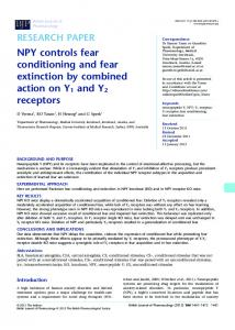 NPY controls fear conditioning and fear extinction by ... - BioMedSearch