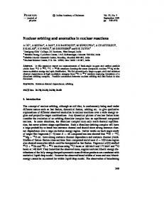 Nuclear orbiting and anomalies in nuclear reactions - Indian Academy