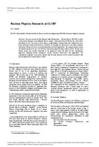 Nuclear Physics Research at ELI-NP - EPJ Web of Conferences