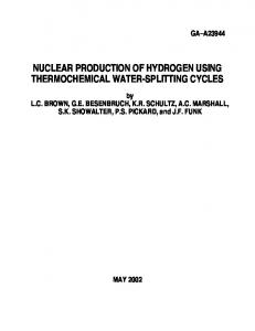 nuclear production of hydrogen using thermochemical ... - CiteSeerX