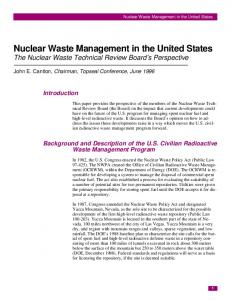 Nuclear Waste Management in the United States