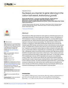 Nucleases as a barrier to gene silencing in the cotton boll ... - PLOS