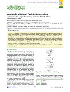 Nucleophilic Addition of Thiols to Deoxynivalenol - ACS Publications