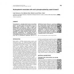 Nucleoplasmin associates with and is phosphorylated by casein ...