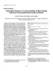 Nucleotide sequence of a new member of the freezing tolerance ...
