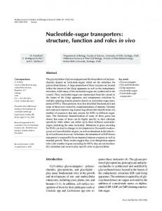 Nucleotide-sugar transporters: structure, function ... - Semantic Scholar