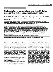 Null mutation in human ciliary neurotrophic factor gene ... - Nature