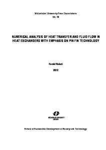 NUMERICAL ANALYSIS OF HEAT TRANSFER AND FLUID FLOW ...