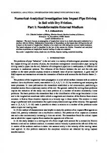 Numerical-Analytical Investigation into Impact Pipe Driving in ... - arXiv