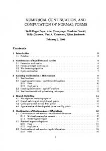 numerical continuation, and computation of normal ...