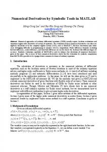 Numerical Derivatives by Symbolic Tools in MATLAB