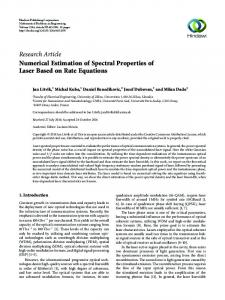 Numerical Estimation of Spectral Properties of Laser Based on Rate