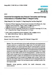 Numerical Investigation into Natural Convection and Entropy