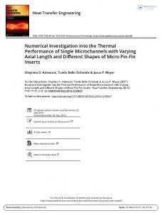 Numerical Investigation into the Thermal Performance