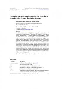 Numerical investigation of nonisothermal reduction