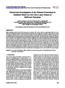 Numerical Investigation of the Plasma Formation in Distilled Water by ...