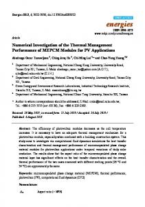 Numerical Investigation of the Thermal Management ... - MDPI