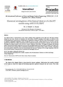 Numerical investigations of the thermal behavior of a ... - ScienceDirect
