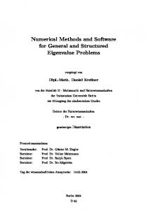 Numerical Methods and Software for General and