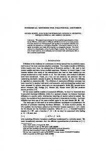 NUMERICAL METHODS FOR FRACTIONAL