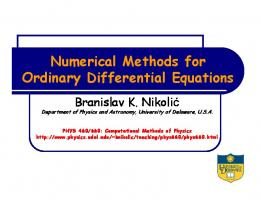 Numerical Methods for Ordinary Differential Equations