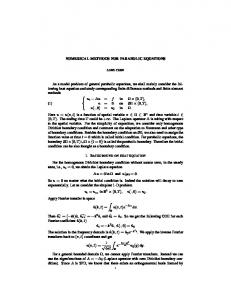 NUMERICAL METHODS FOR PARABOLIC EQUATIONS As a ...