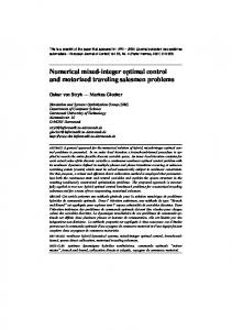 Numerical mixed-integer optimal control and